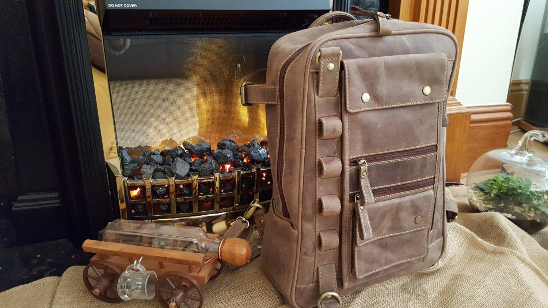 GENUINE LEATHER BACKPACK Rucksack Laptop Bag Vintage Men's Travel Multi Pocket CHRISTMAS SALE