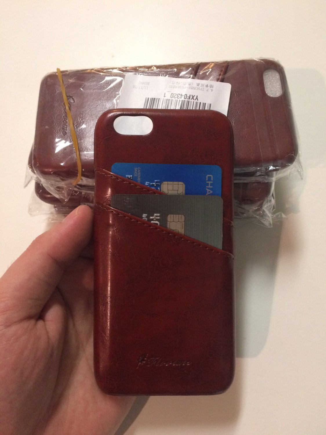 Business Style Wax Leather Case Cover Card Holder for iPhone 6 6s