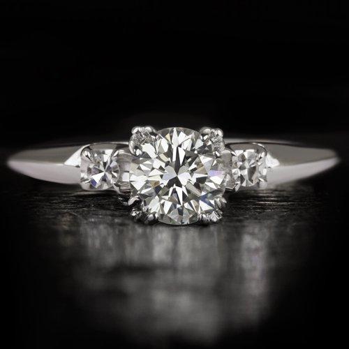 EXCELLENT CUT VINTAGE 1 CARAT ROUND DIAMOND ENGAGEMENT RING COCKTAIL WHITE GOLD