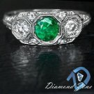 NATURAL EMERALD DIAMOND ART DECO RING VINTAGE 3 STONE WHITE GOLD GREEN COCKTAIL