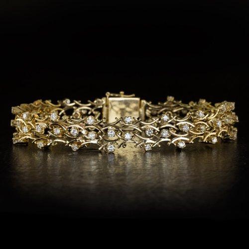 2 CARAT DIAMOND BRACELET 19 GRAMS YELLOW GOLD FLORAL VINTAGE 2ct NATURAL ESTATE