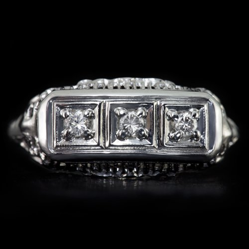 1930s VINTAGE 3 STONE DIAMOND COCKTAIL RING OLD FILIGREE 14K WHITE GOLD ART DECO