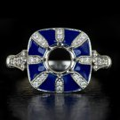 VINTAGE DIAMOND BLUE SAPPHIRE ENAMEL SEMI-MOUNT ENGAGEMENT RING ROUND SETTING 14