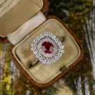 1.5CT NATURAL FINE RUBY IDEAL CUT DIAMONDS HALO VINTAGE COCKTAIL ENGAGEMENT RING