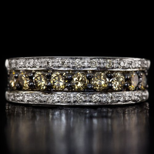 FANCY CHAMPAGNE ROUND NATURAL DIAMOND WEDDING BAND STACKABLE COCKTAIL RING 14K
