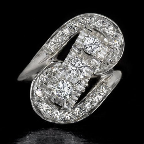 1940s VINTAGE 1 CARAT DIAMOND COCKTAIL RING WHITE GOLD RETRO BIG 3 STONE ESTATE
