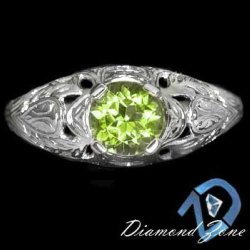 VINTAGE GREEN APPLE PERIDOT ROUND SOLITAIRE ENGRAVING COCKTAIL RING 14K W GOLD