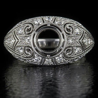 VINTAGE ROUND DIAMOND 1/4ct SEMI-MOUNT RING BEZEL SETTING DOME FILIGREE ART DECO