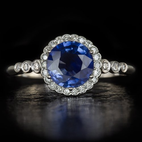 1.22ct NATURAL ROYAL BLUE SAPPHIRE ROUND DIAMOND HALO ENGAGEMENT COCKTAIL RING