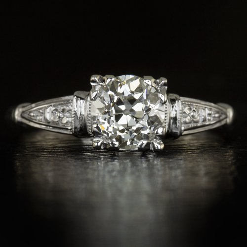 0.88ct VINTAGE OLD MINE CUT DIAMOND SOLITAIRE ENGAGEMENT RING ANTIQUE WHITE GOLD
