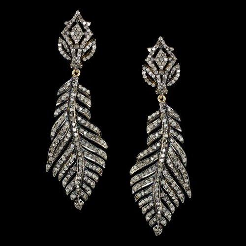 3 CARAT DIAMOND EARRINGS DANGLE FEATHER DROP LEAF BOHEMIAN NATURAL ORGANIC 3ct