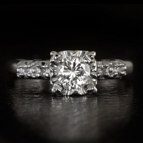 1956 VINTAGE 1/2ct E VS2 ROUND DIAMOND ENGAGEMENT RING EGL-USA OLD CUT RETRO