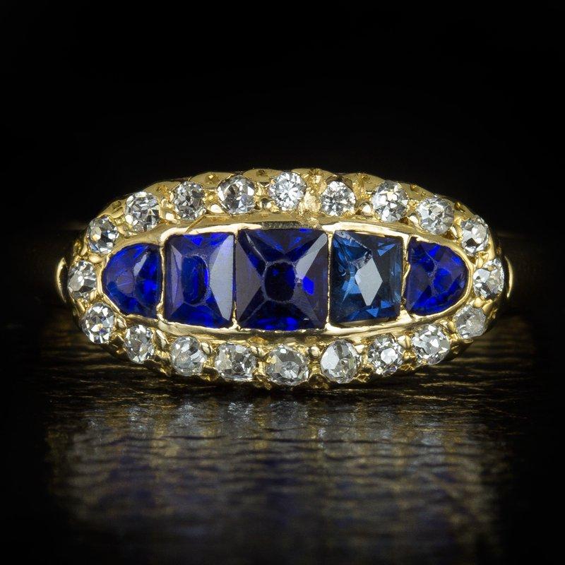 ANTIQUE OLD MINE CUT DIAMOND  SAPPHIRE ART NOUVEAU 18K YELLOW GOLD RING VINTAGE