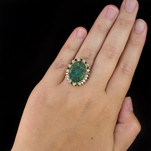 NATURAL OPAL 20x15 GREEN HALO DIAMOND 1.63ct VINTAGE COCKTAIL RING 18K GOLD BIG