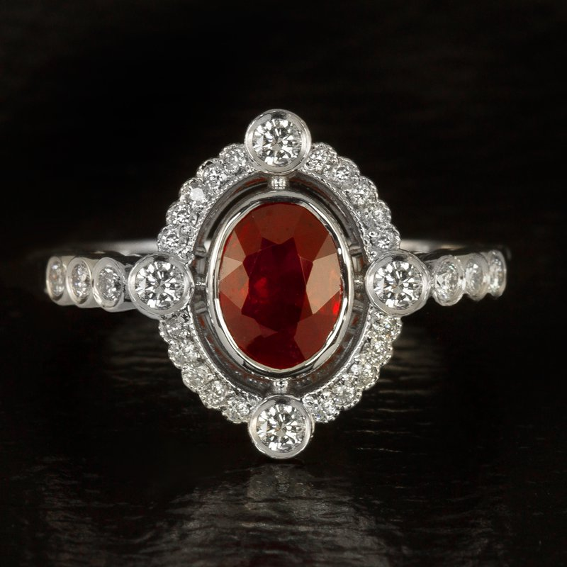 VINTAGE 1.1ct NATURAL RUBY OVAL DIAMOND HALO ENGAGEMENT COCKTAIL RING WHITE GOLD