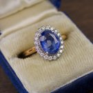 3.76ct AGL CERTIFIED NO HEAT BLUE SAPPHIRE OVAL DIAMOND RING ENGAGEMENT VINTAGE