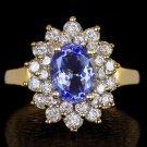 NATURAL 1.25ct DIAMOND 2.25c TANZANITE HALO COCKTAIL RING 14K GOLD LARGE CLUSTER