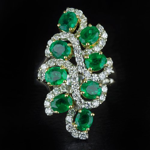 4 CARAT PERFECT NATURAL EMERALDS IDEAL CUT DIAMONDS CLUSTER COCKTAIL RING 18K WG