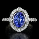 1.8ct PURPLE TANZANITE DIAMOND HALO ART NOUVEAU COCKTAIL RING WHITE GOLD VINTAGE