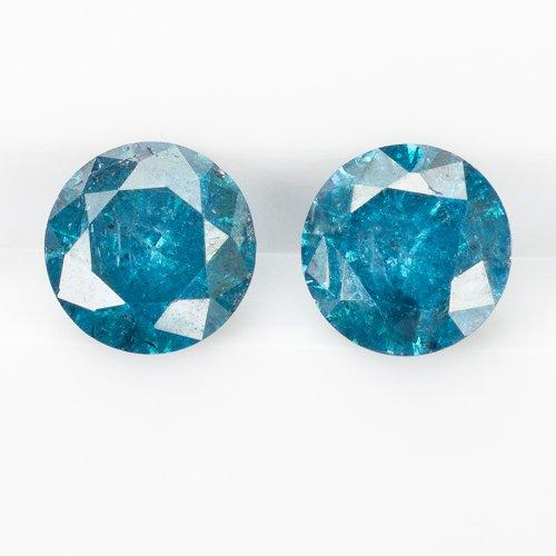 1.15ct ROUND FANCY BLUE NATURAL DIAMONDS RUSTIC PAIR LOOSE STUD EARRINGS 1 CARAT