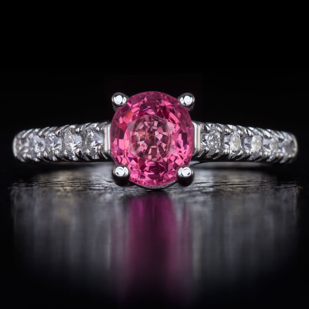 1.11c UNHEATED NATURAL PINK SAPPHIRE F VS DIAMOND COCKTAIL ENGAGEMENT RING ROUND
