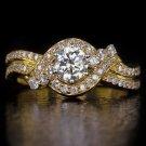 1 CARAT ROUND CUT DIAMOND ENGAGEMENT RING DESIGNER KNOT COCKTAIL 14K YELLOW GOLD