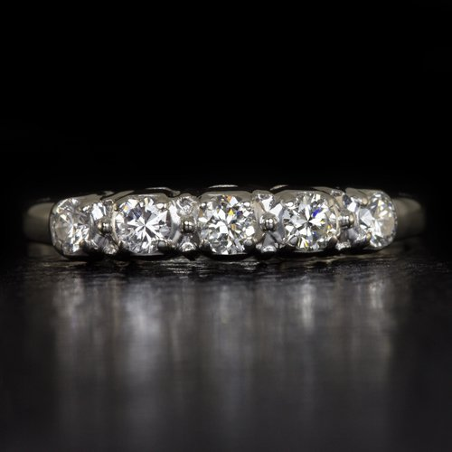 1940 VINTAGE WWII ERA G-H VS DIAMOND WEDDING BAND COCKTAIL RING PALLADIUM RETRO