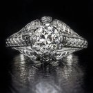 1CT OLD EUROPEAN DIAMOND ORG VINTAGE ENGRAVED ENGAGEMENT COCKTAIL RING ANTIQUE