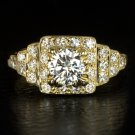 VINTAGE 1.5 CARAT ROUND 0.90ctr DIAMOND ENGAGEMENT COCKTAIL RING DECO GOLD HALO