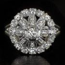VINTAGE 1.30ct  DIAMOND PLATINUM FINE BALLERINA ANTIQUE COCKTAIL RING ART DECO