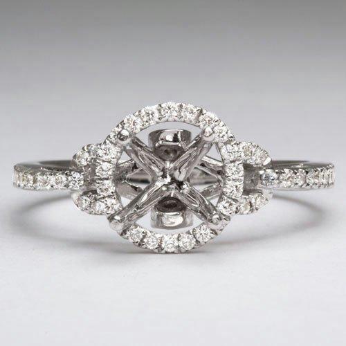 DIAMOND SEMI-MOUNT ROUND HALO ENGAGEMENT RING DESIGNER PAVE SETTING PRONG 1CT 7M