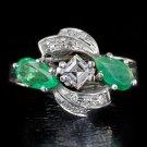 VINTAGE E VVS2 DIAMOND 1.75CTW NATURAL EMERALDS COCKTAIL RING WHITE GOLD RETRO