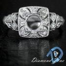 ART DECO SEMI MOUNT 5.5MM ROUND CUSHION DIAMOND VINTAGE ENGAGEMENT SETTING RING