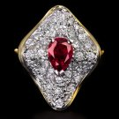 3/4ct VINTAGE RED RUBY 1/2ct DIAMONDS PAVE CLUSTER COCKTAIL RING GOLD FILIGREE