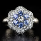 IDEAL CUT 1.75CT F VS NATURAL DIAMOND SAPPHIRE 18K 8GM FLOWER PAVE COCKTAIL RING