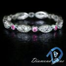 PINK SAPPHIRE BUBBLEGUM DIAMOND GENUINE ETERNITY BAND MILGRAIN 14K WEDDING RING