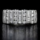 1.50ct D-F COLOR ROUND BAGUETTE CUT DIAMOND COCKTAIL RING CLUSTER WHITE GOLD BIG