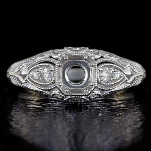 EDWARDIAN DIAMOND SEMI MOUNT 5MM ENGAGEMENT RING CUSHION ROUND FILIGREE VINTAGE