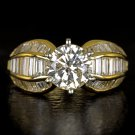 4.59ct ROUND BAGUETTE DIAMOND ENGAGEMENT RING 2 CARAT CENTER COCKTAIL 18K GOLD