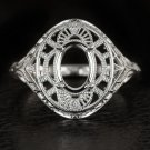 ART DECO FILIGREE WHITE GOLD ANTIQUE OVAL SETTING RING