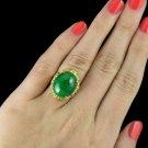 IDEAL CUT G-H VS DIAMOND 15 CARAT NATURAL JADE VINTAGE ESTATE COCKTAIL RING GOLD