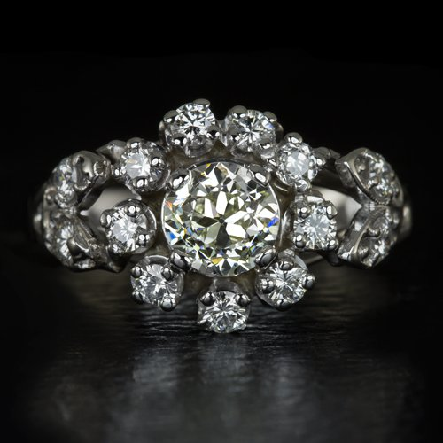 1.60ct ANTIQUE OLD EUROPEAN CUT DIAMOND HALO ENGAGEMENT RING VINTAGE ART DECO