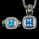 5.5 CARAT BLUE TOPAZ DIAMOND HALO COCKTAIL RING PENDANT NECKLACE SET STATEMENT