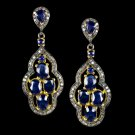 8ct ROYAL BLUE OVAL SAPPHIRE 1.00ct DIAMOND DANGLE EARRINGS NATURAL EXQUISITE