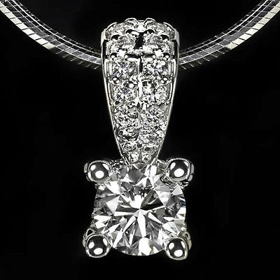 0.72ct IDEAL CUT F COLOR ROUND DIAMOND NECKLACE PENDANT 14K WG SNAKE CHAIN RBC