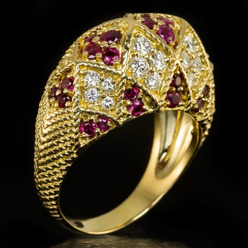 1.50ct IDEAL CUT F VVS DIAMONDS RUBY COCKTAIL RING VINTAGE 18K GOLD 16 GRAMS BIG