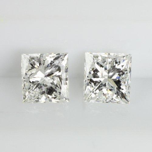 1/2 CARAT PRINCESS CUT DIAMOND E-F Si2 MATCHING PAIR STUD EARRINGS SQUARE 0.50ct