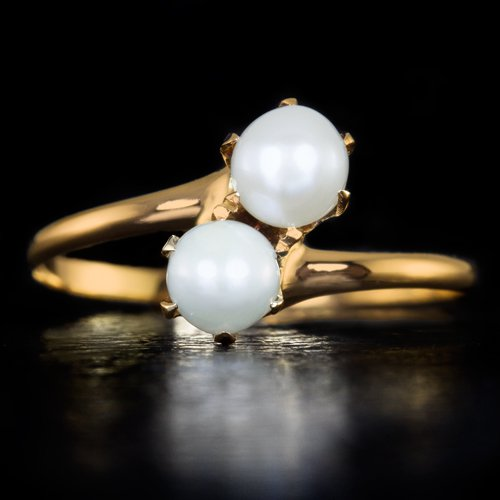 VINTAGE PEARL DOUBLE COCKTAIL RING 10K YELLOW GOLD DAINTY RETRO RIGHT HAND MIDI