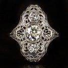 1.35c ANTIQUE 1ct+ OLD EUROPEAN CUT DIAMOND FILIGREE COCKTAIL RING 1920s VINTAGE