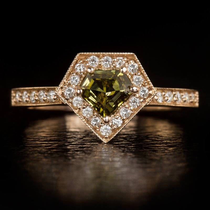 NATURAL FANCY GREEN DIAMOND SUPERMAN CUT HALO COCKTAIL RING 14K ROSE GOLD CUSTOM